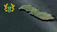 Upper East with Coat Of Arms Animation Map Stock Footage
