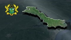 Volta with Coat Of Arms Animation Map Stock Footage