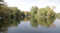 Pond in urban Park in autumn. Saratov, Russia Stock Footage