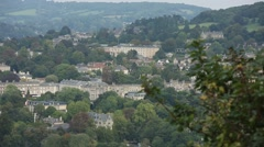 Historical houses on the hill slope in England Stock Footage