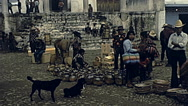 Guatemala 1982: people in an outdoor market Stock Footage