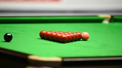 Detail video with snooker player hitting the ball during competition Stock Footage