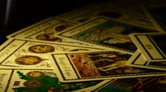 Cards of tarot rotating Stock Footage