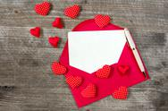 Love letter with red hearts Stock Photos
