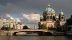 Real time locked down establishing shot of Berlin Cathedral in Berlin Stock Footage