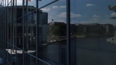 Pan shot of the new parliamentary complex inat the Spree River in Berlin Stock Footage