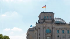 Real time medium shot of the Reichstag building in Berlin. Stock Footage