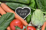 Raw vegetables and text food day Stock Photos