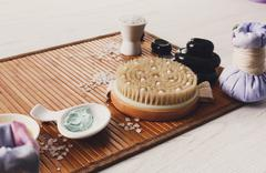 Spa treatment, aromatherapy top view background. Details and accessories Stock Photos