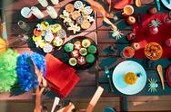 Served table with Halloween dinner outdoors Stock Photos