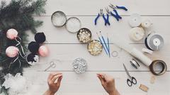 Creative diy hobby. Handmade christmas decoration, balls and gar Stock Photos