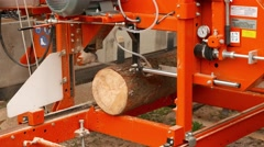 4K semi-automatic wood cutting machine Agriculture Trade Show Munich Germany Stock Footage