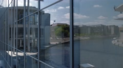 Pan shot of  Marie-Elisabeth Luders Building at the Spree River in Berlin Stock Footage