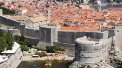 4K+ Tilt Down Timelapse of Sea Kayaks near Pile Gate, Dubrovnik Stock Footage