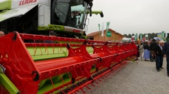 4K Harvesting machine on sale Agriculture Trade Show Munich Germany Stock Footage