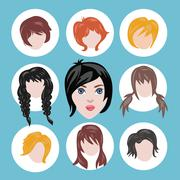 Set of different girl's hairstyle collection. Stock Illustration