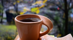 Morning Coffee In The Autumn Stock Footage