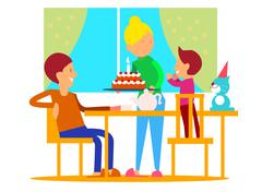 Child's Birthday Celebration Flat Design Vector Stock Illustration