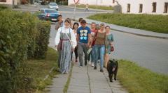 Tourist walk through the city Stock Footage