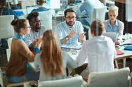 Briefing of employees Stock Photos