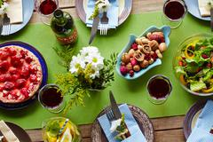 Table with festive food prepared for holiday celebration Stock Photos