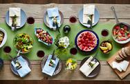 Wooden table serbed for Christmas dinner Stock Photos