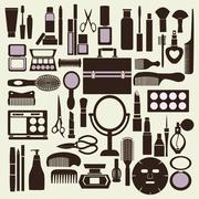 Cosmetics and makeup black and white icon set - Illustration Stock Illustration