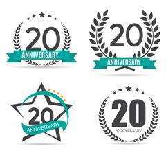 Template Logo 20 Years Anniversary Set Vector Illustration Stock Illustration