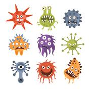 Aggressive Fantastic Monster Microorganisms Set Piirros