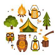 Camping Associated Symbols Illustration Stock Illustration