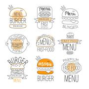 Burger Street Food Promo Labels Collection Piirros
