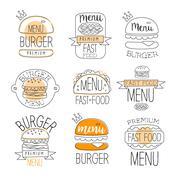 Burger Street Food Promo Labels Collection Stock Illustration