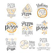 Italian Pizza Fast Food Promo Labels Collection Stock Illustration
