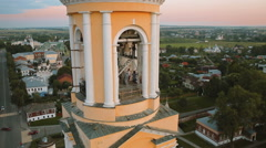 Flying around the tallest tower in Suzdal Stock Footage
