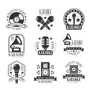 Karaoke Bar Black And White Label Set Stock Illustration
