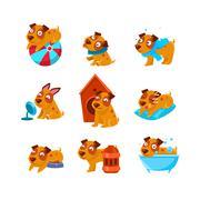Puppy Everyday Activities Set Stock Illustration