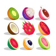 Exotic Fruits Sliced In Half Set Of Bright Icons Stock Illustration