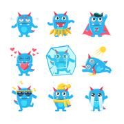 Blue Monster Character Activities Stock Illustration