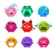 Round Characters Of Different Colors Emoji Set Stock Illustration
