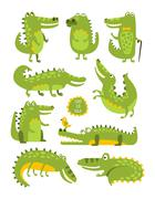 Crocodile Cute Character In Different Poses Childish Stickers Stock Illustration