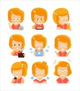 Young Red Head Girl Cute Portrait Icons Stock Illustration