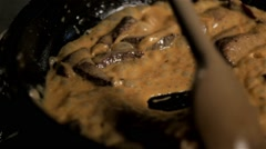 Chef Stir Meat In Frying Pan, Cooking Beef Stroganoff In Sauce Stock Footage