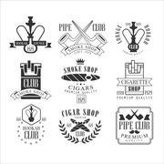 Smoke Shop Vintage Black And White Emblems Stock Illustration