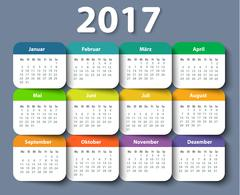 Calendar 2017 year German. Week starting on Monday Stock Illustration