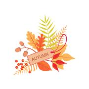 Set Of Orange Leaves With The Tag As Autumn Attribute Stock Illustration