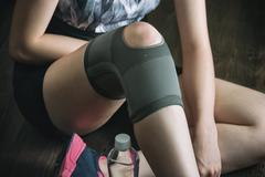 On the road to recovery for knee injury, fitness exercise Stock Photos