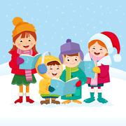 Christmas Carol Singers Stock Illustration