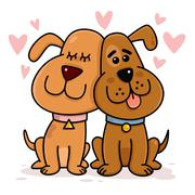 Dogs Couple in Love Stock Illustration