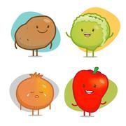 Vegetable Characters Stock Illustration