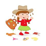 Girl packing for Holiday Stock Illustration